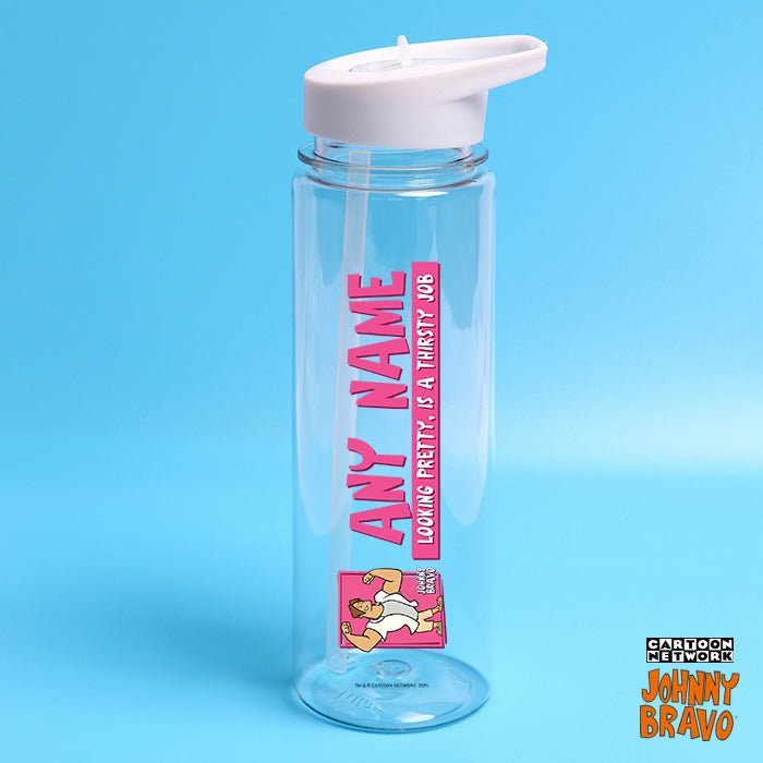 Johnny Bravo Guys Pretty Thirsty Pink Water Bottle - Image 1