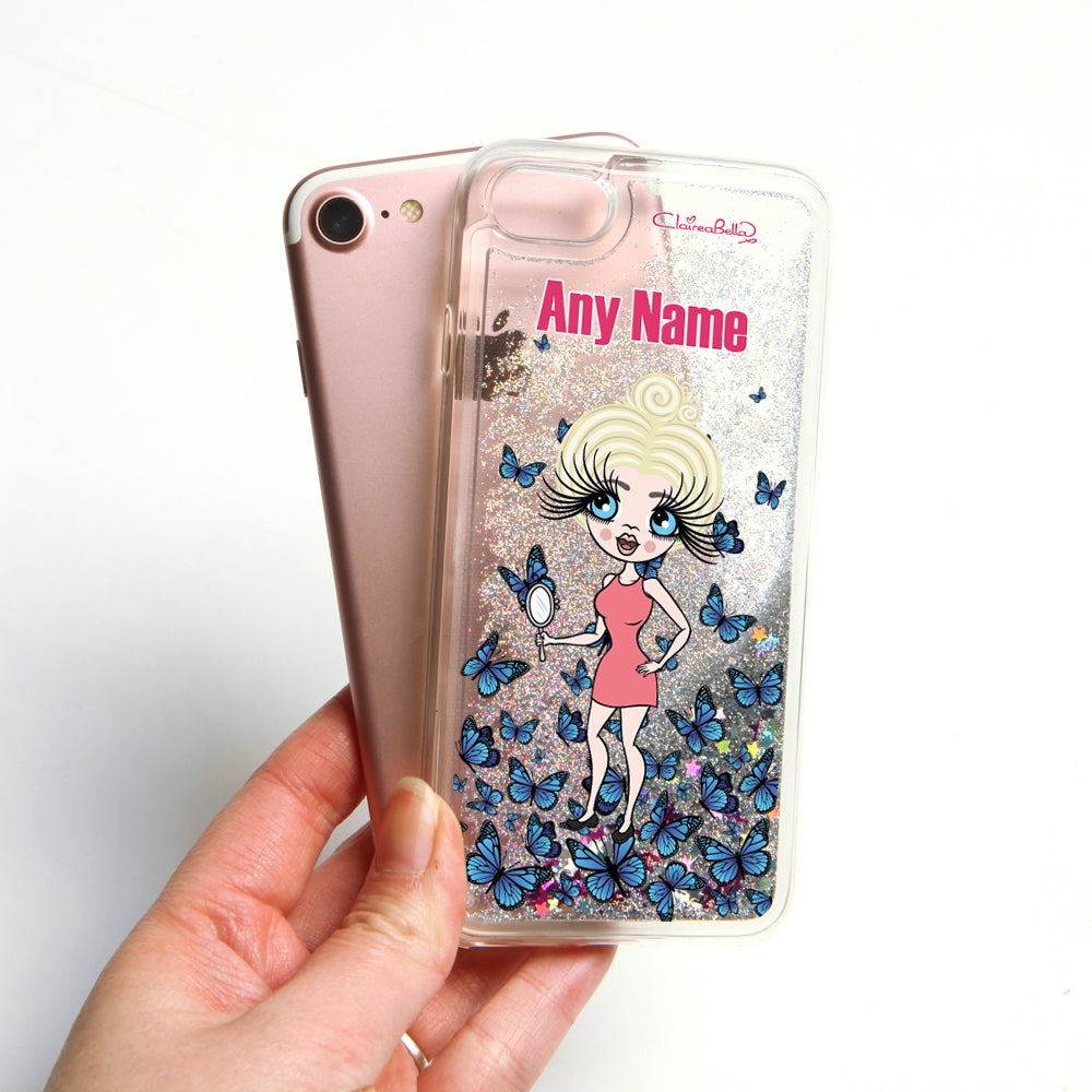 ClaireaBella Butterfly Liquid Glitter Phone Case - Silver - Image 4