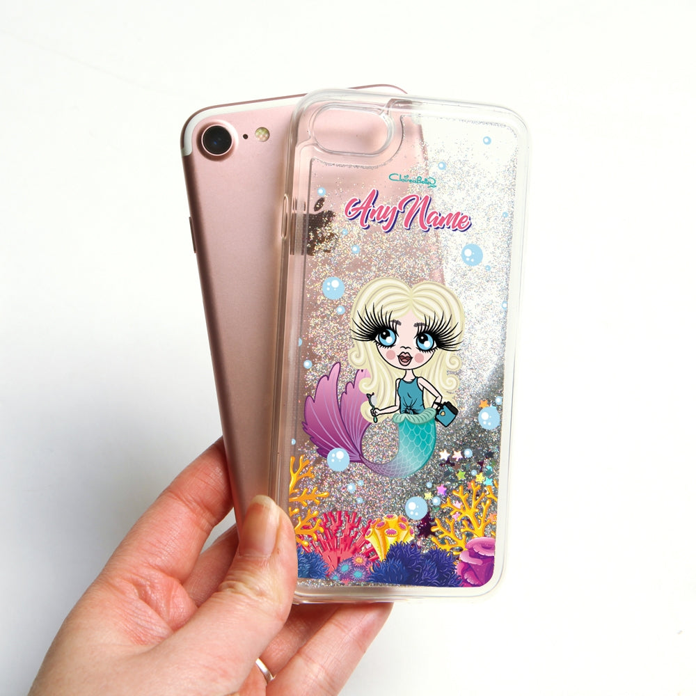 ClaireaBella Girls Mermaid Liquid Glitter Phone Case - Silver - Image 4