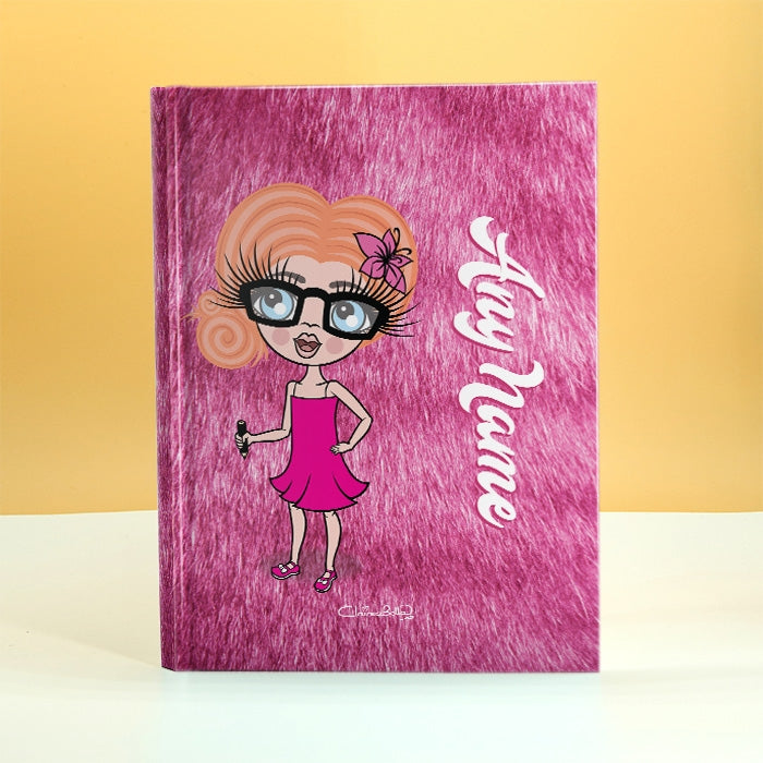 ClaireaBella Girls Pink Fur Print Diary - Image 1