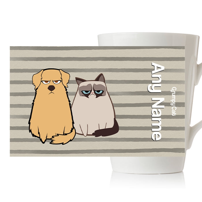 Grumpy Cat Stripe Latte Mug - Image 3