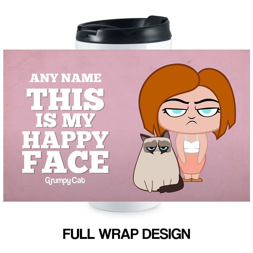 Grumpy Cat Happy Face Travel Mug