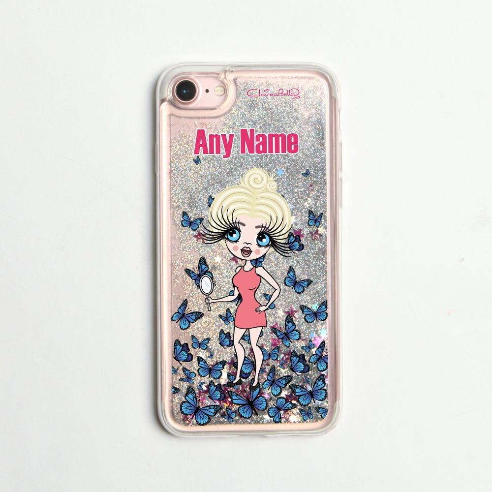 ClaireaBella Butterfly Liquid Glitter Phone Case - Silver - Image 6