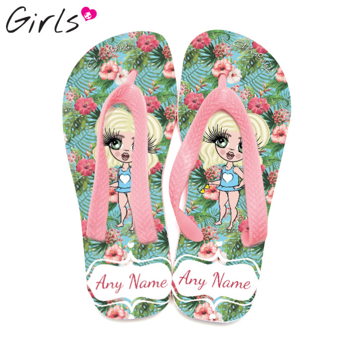 ClaireaBella Girls Hula Print Flip Flops