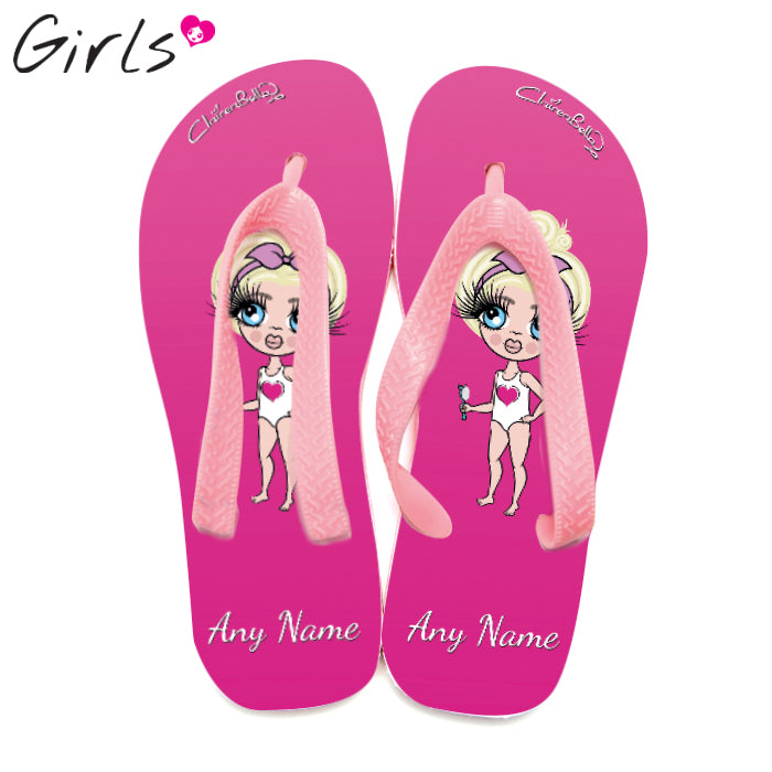 ClaireaBella Girls Hot Pink Flip Flops