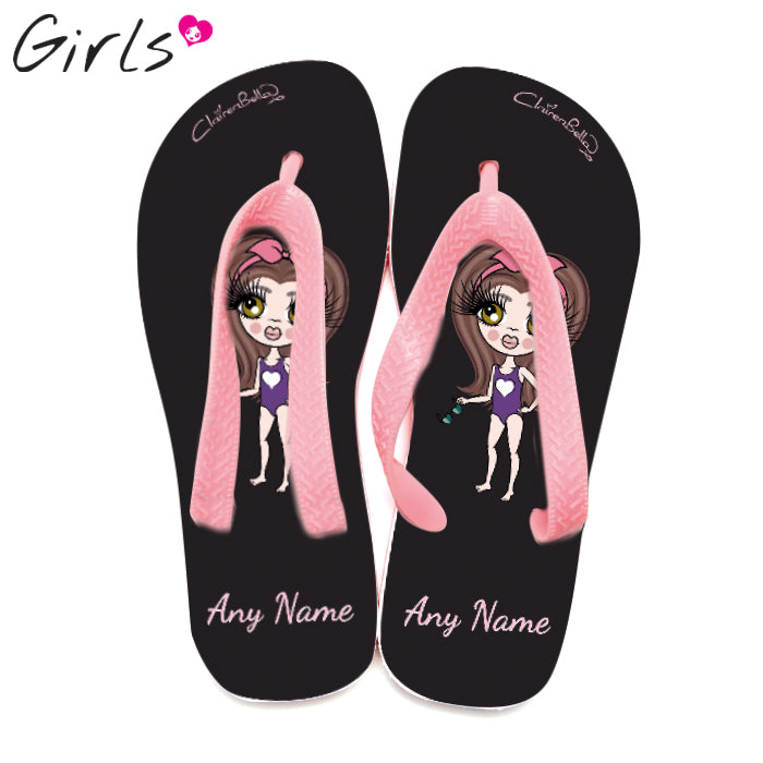 ClaireaBella Girls Black Flip Flops