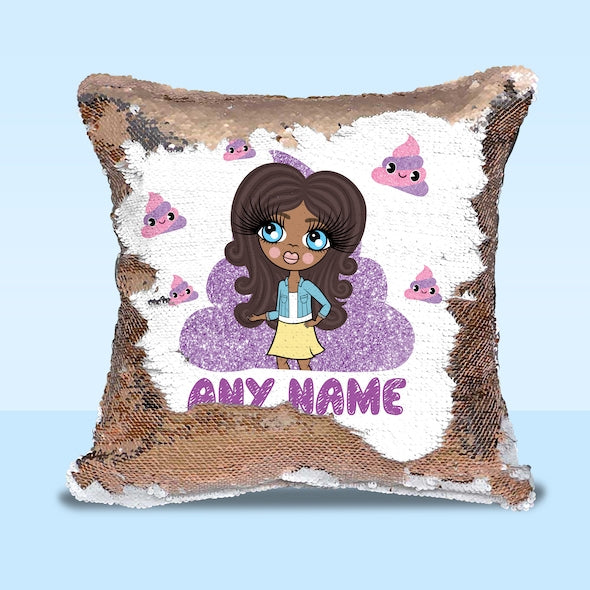 ClaireaBella Girls Poop Emoji Sequin Cushion - Image 1