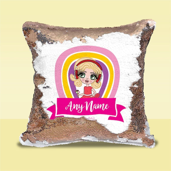 ClaireaBella Girls Rainbow Sequin Cushion - Image 1
