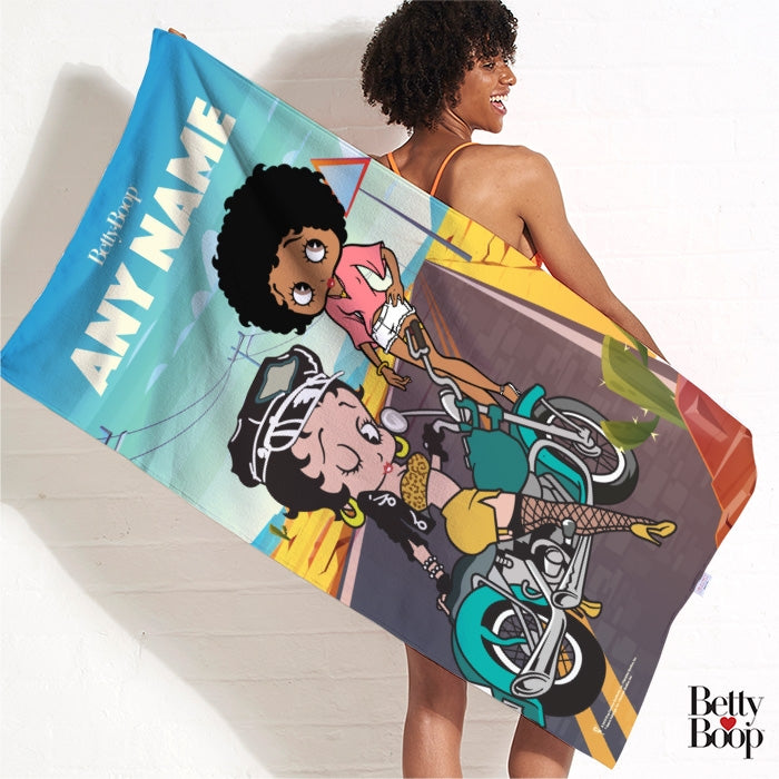 Betty Boop Born To Ride Beach Towel - Image 3