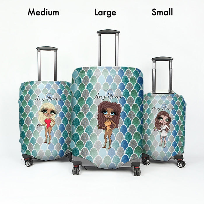 ClaireaBella Mermaid Glitter Effect Suitcase Cover - Image 5