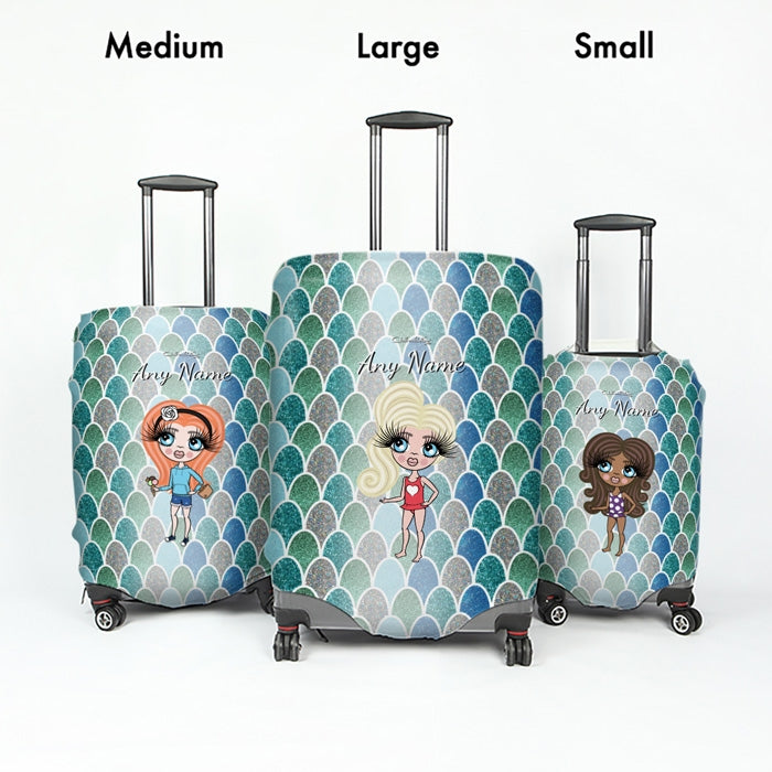 ClaireaBella Girls Mermaid Glitter Effect Suitcase Cover - Image 5