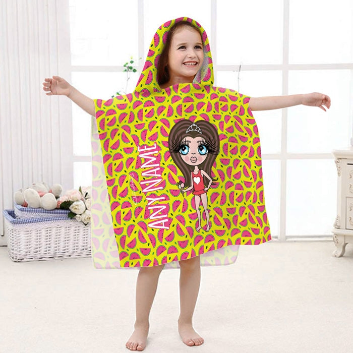 ClaireaBella Girls Watermelon Print Poncho Towel - Image 1