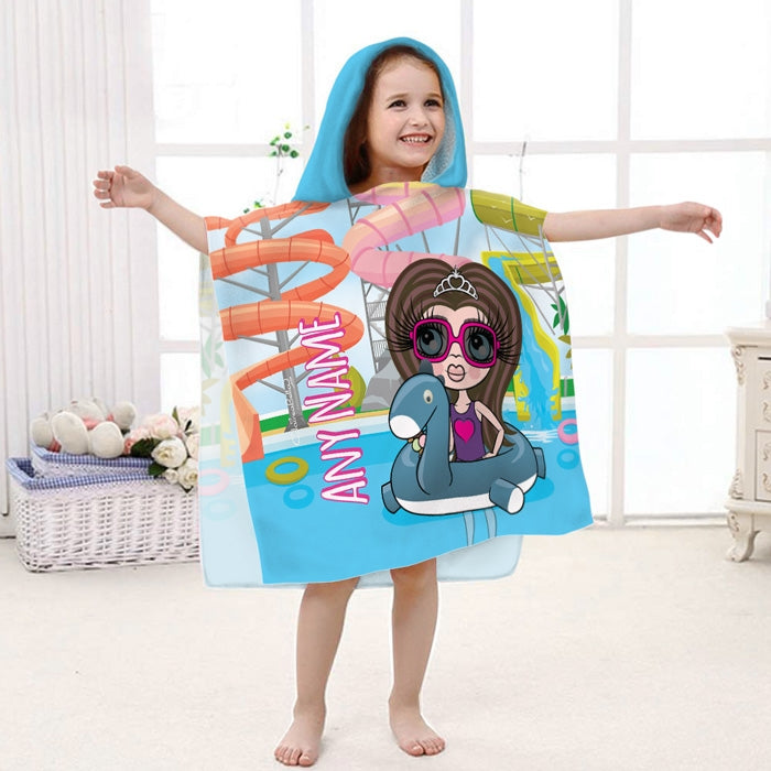 ClaireaBella Girls Water Park Poncho Towel - Image 1