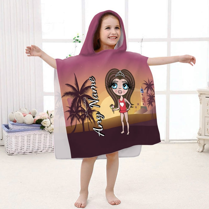 ClaireaBella Girls Sunset Beach Poncho Towel - Image 1
