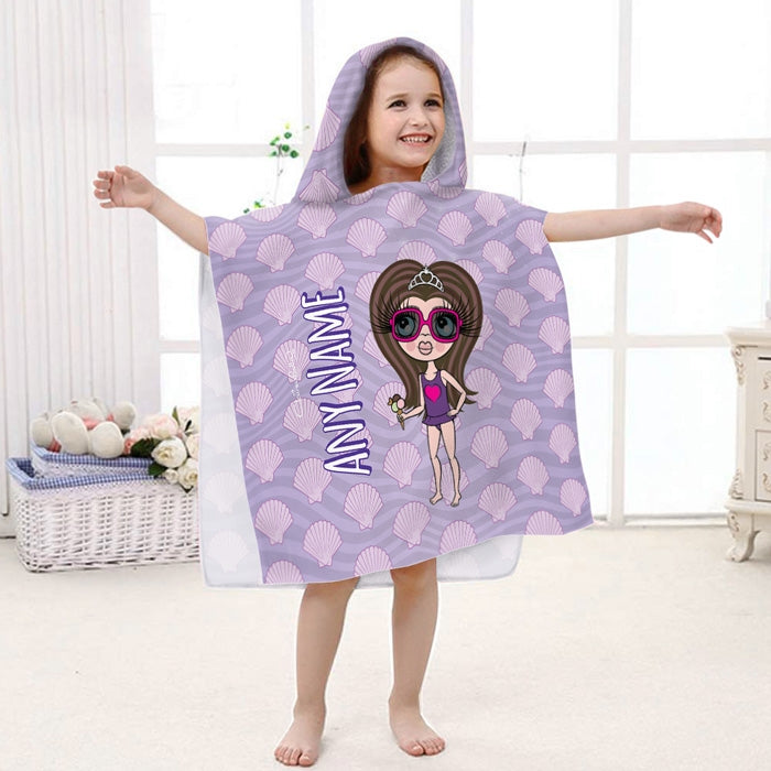 ClaireaBella Girls Seashells Poncho Towel - Image 1