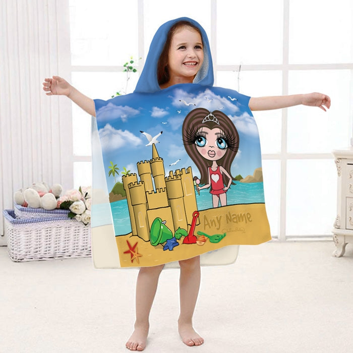 ClaireaBella Girls Sandcastle Fun Poncho Towel - Image 1