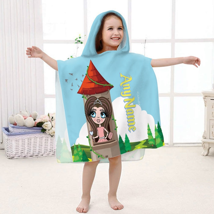 ClaireaBella Girls Princess Poncho Towel - Image 1