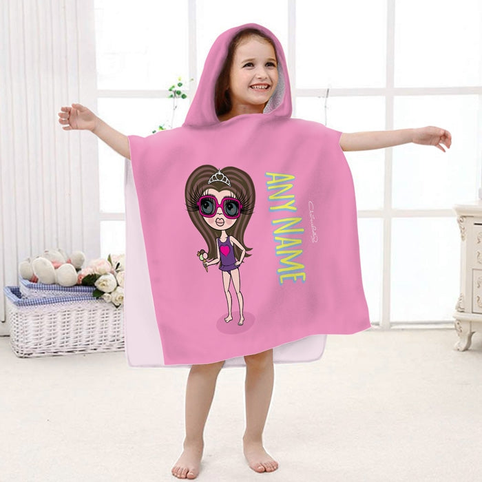 ClaireaBella Girls Pink Poncho Towel - Image 1