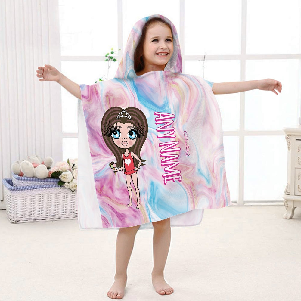 ClaireaBella Girls Marble Effect Poncho Towel - Image 1