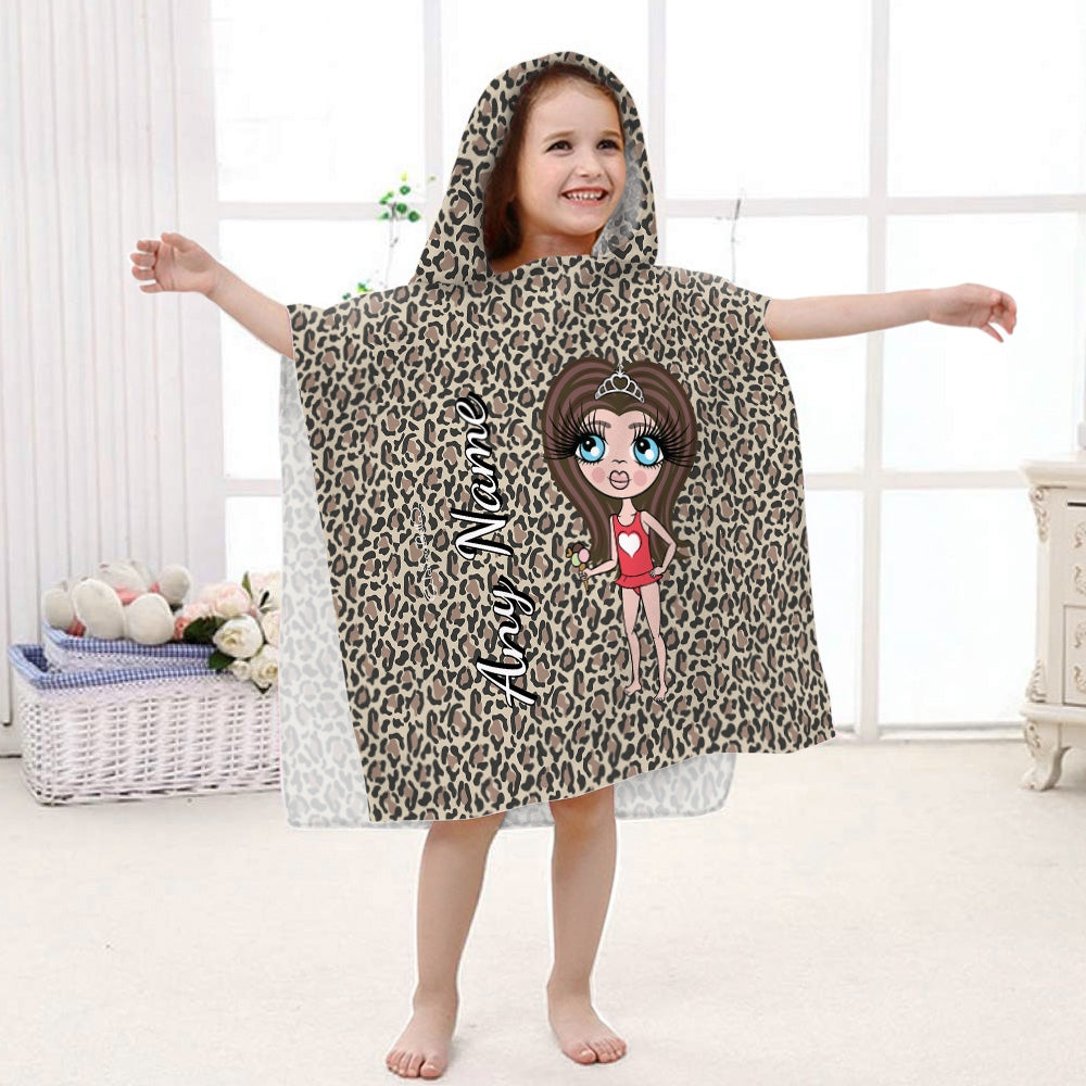ClaireaBella Girls Leopard Print Poncho Towel - Image 1