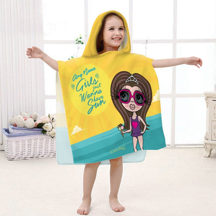 ClaireaBella Girls Sun Poncho Towel - Image 1