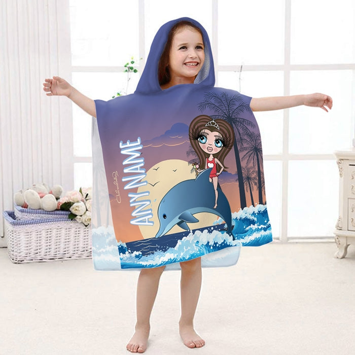 ClaireaBella Girls Dolphin Poncho Towel - Image 1