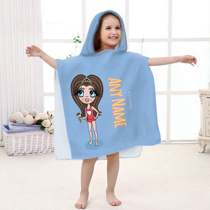 ClaireaBella Girls Blue Poncho Towel - Image 1