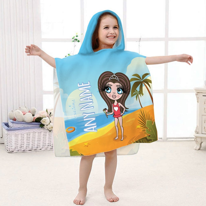 ClaireaBella Girls Beach Print Poncho Towel - Image 1