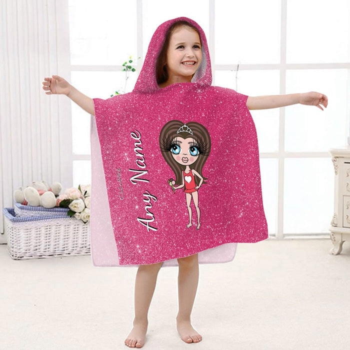 ClaireaBella Girls Glitter Effect Poncho Towel - Image 1