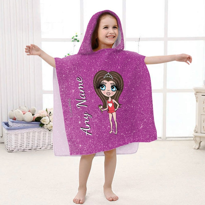 ClaireaBella Girls Glitter Effect Poncho Towel - Image 2