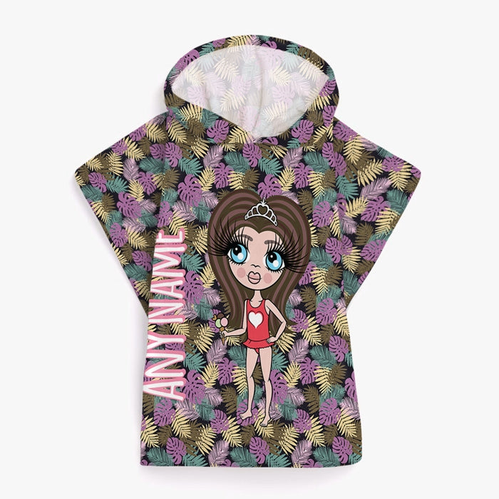 ClaireaBella Girls Tropical Poncho Towel - Image 1