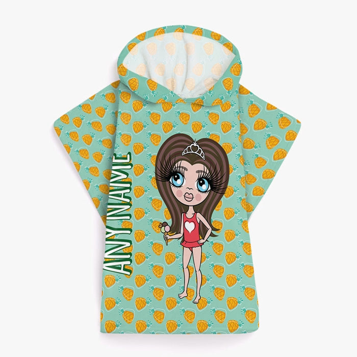 ClaireaBella Girls Pineapple Print Poncho Towel - Image 1