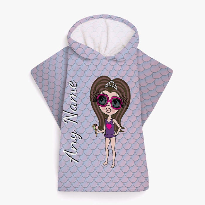 ClaireaBella Girls Mermaid Shimmer Poncho Towel - Image 1