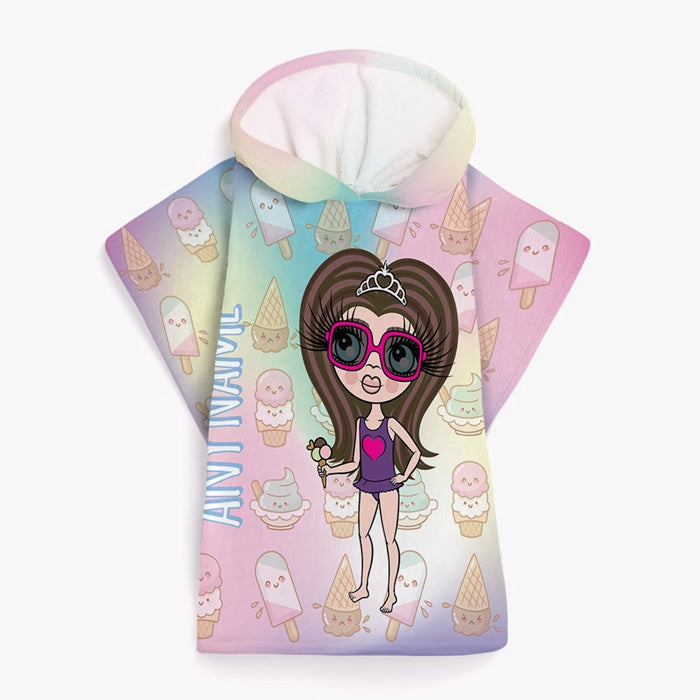 ClaireaBella Girls Ice Lolly Poncho Towel - Image 1