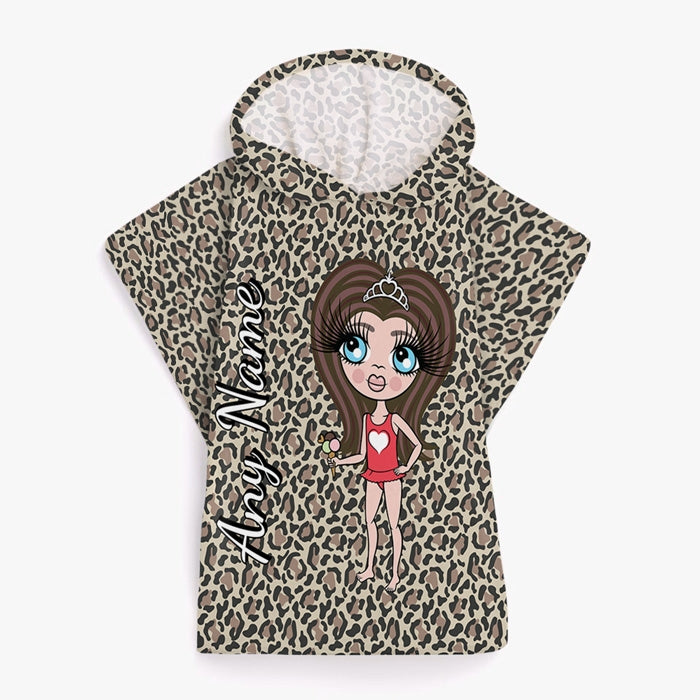 a9216f06be ClaireaBella Girls Leopard Print Poncho Towel