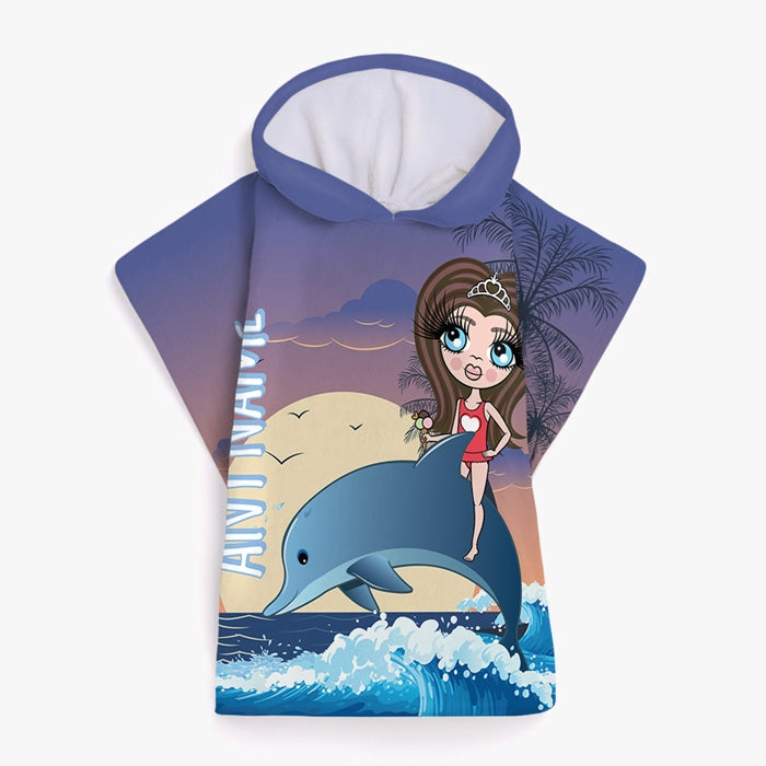 ClaireaBella Girls Dolphin Poncho Towel - Image 2