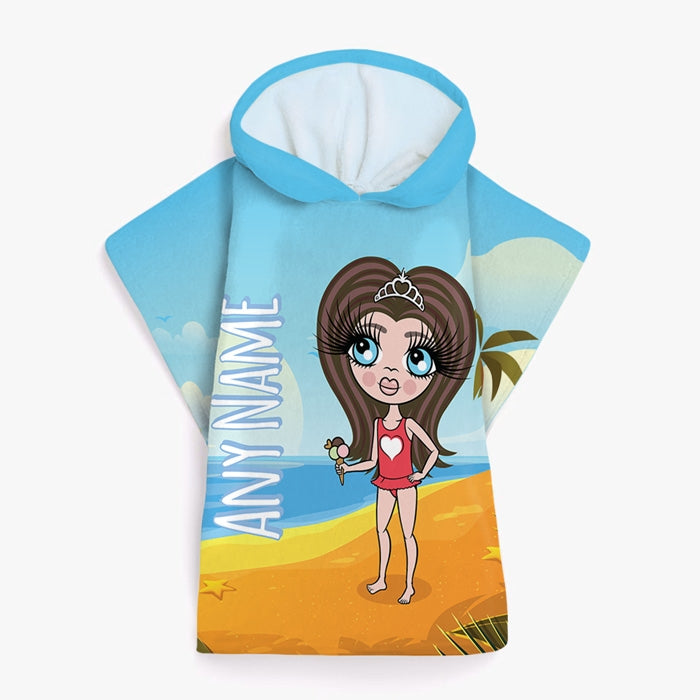 ClaireaBella Girls Beach Print Poncho Towel - Image 2