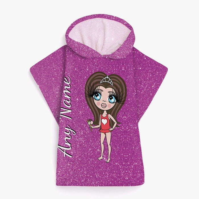 ClaireaBella Girls Glitter Effect Poncho Towel - Image 7