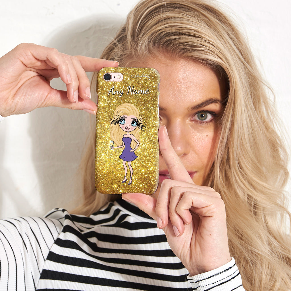 ClaireaBella Personalised Glitter Effect Phone Case - Gold - Image 3