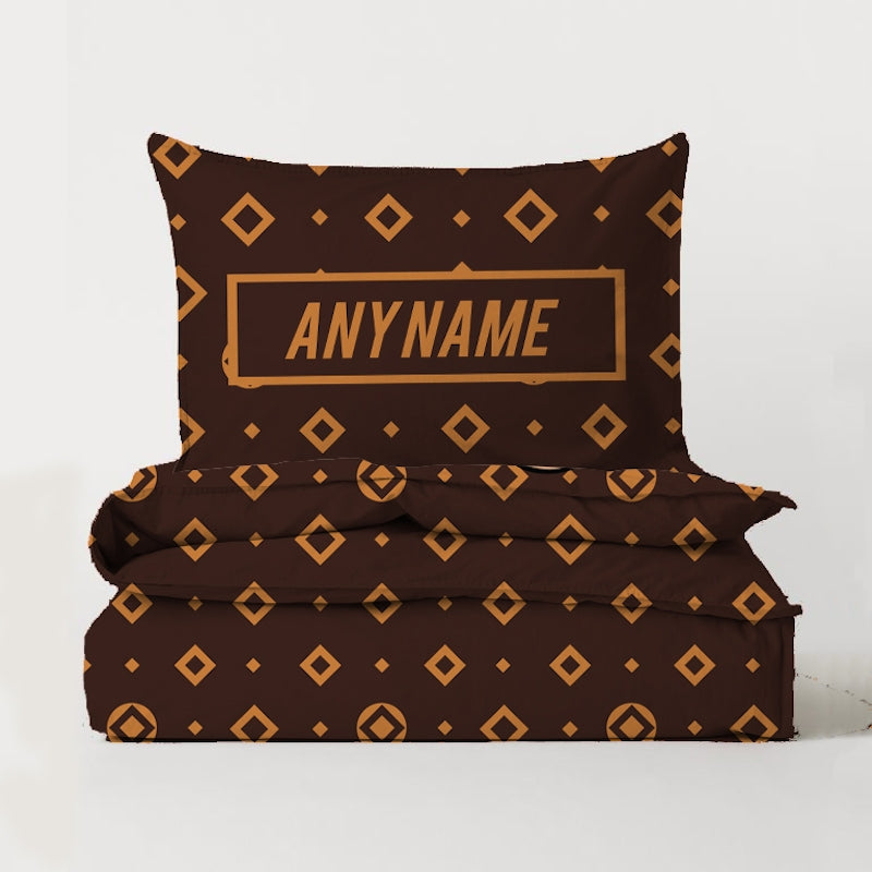 Jnr Boys Personalised Brown Pattern Bedding - Image 3