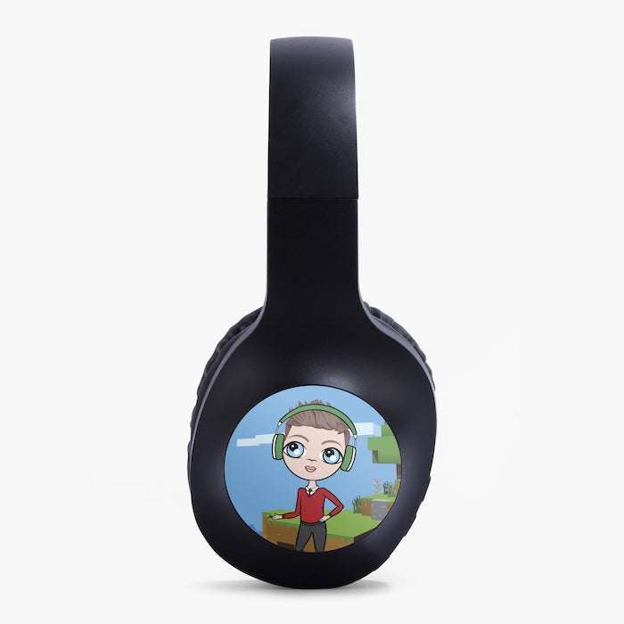 Jnr Boys Gaming Blocks Personalised Wireless Headphones - Image 2