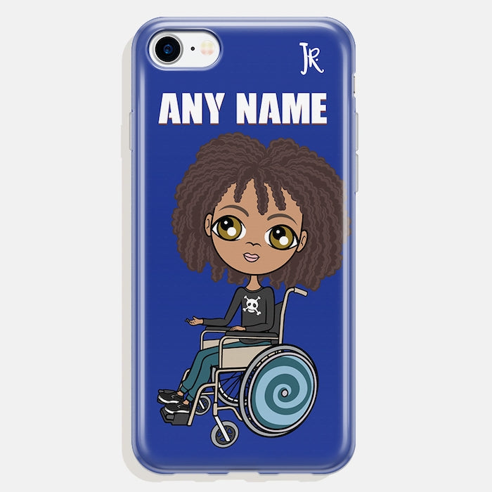 Jnr Boys Wheelchair Personalised Blue Phone Case - Image 1