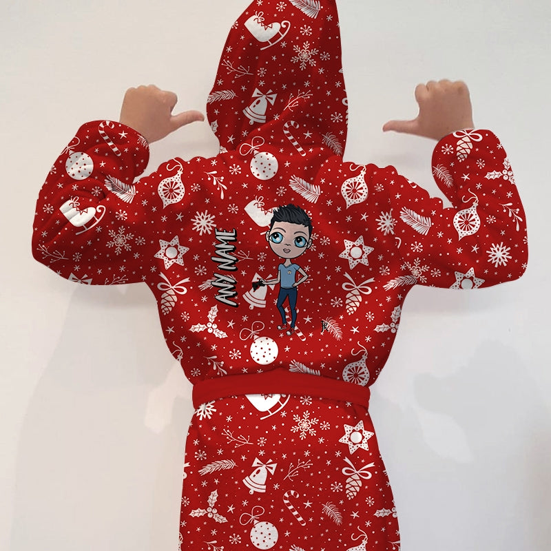 Jnr Boys Festive Fun Dressing Gown - Image 1