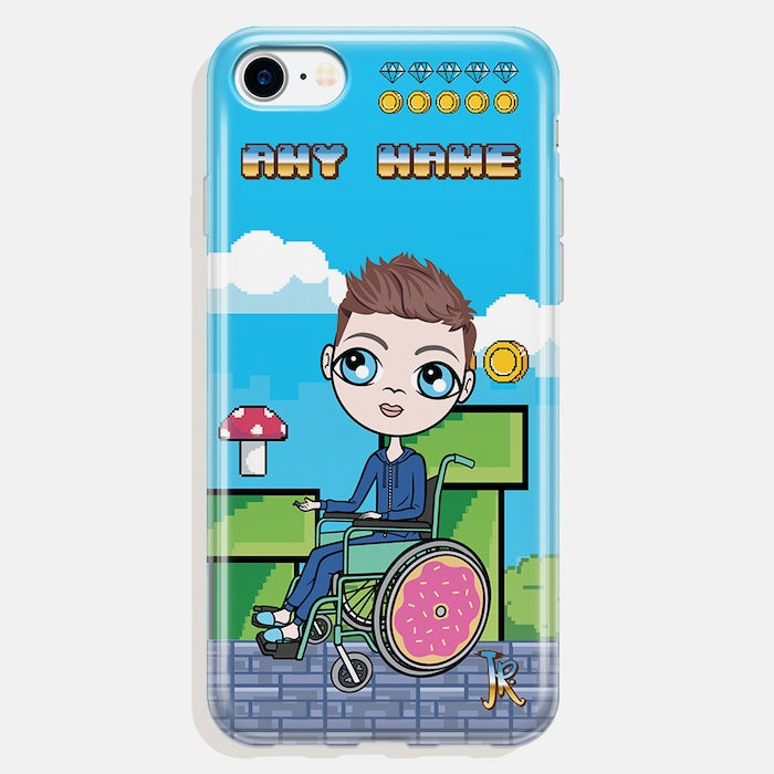 Jnr Boys Wheelchair Personalised Craft Blocks Phone Case - Image 1