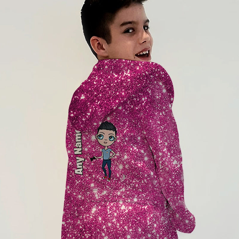Jnr Boys Pink Glitter Effect Dressing Gown - Image 1