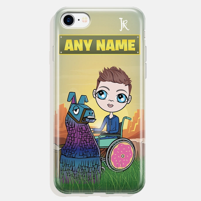 Jnr Boys Wheelchair Personalised Llama Looting Phone Case - Image 1