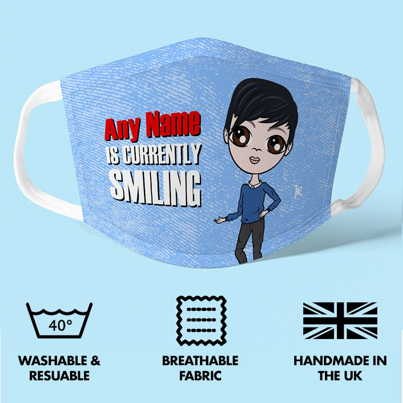 Jnr Boys Personalised Smile Reusable Face Covering - Image 3