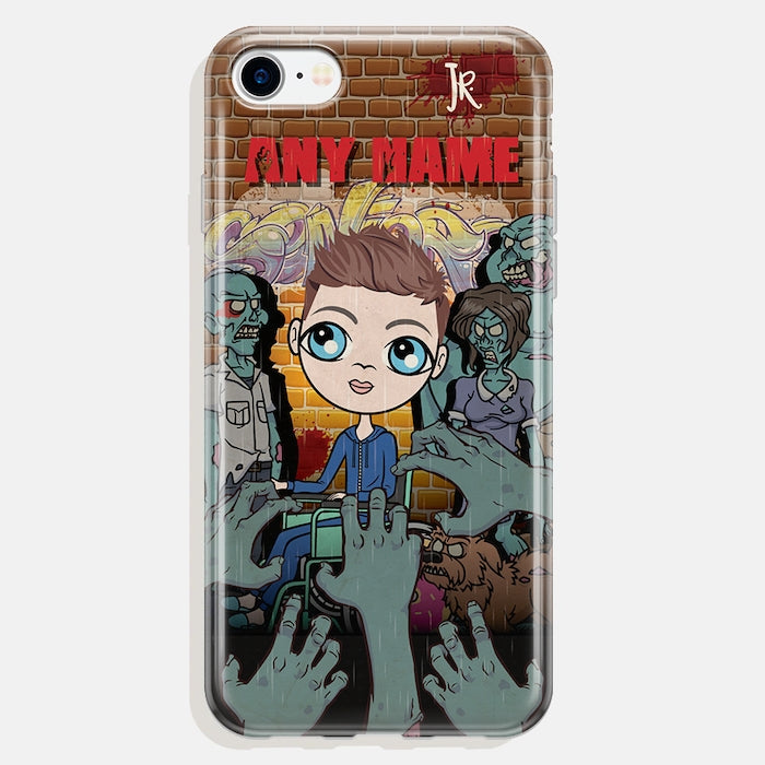 Jnr Boys Wheelchair Personalised Zombie Phone Case - Image 2