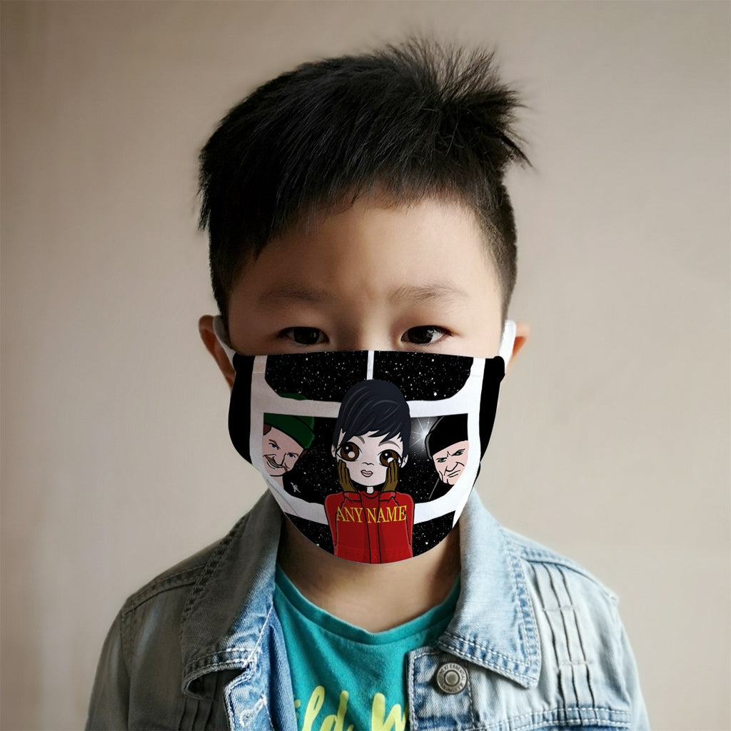 Jnr Boys Personalised Alone At Home Reusable Face Covering - Image 2