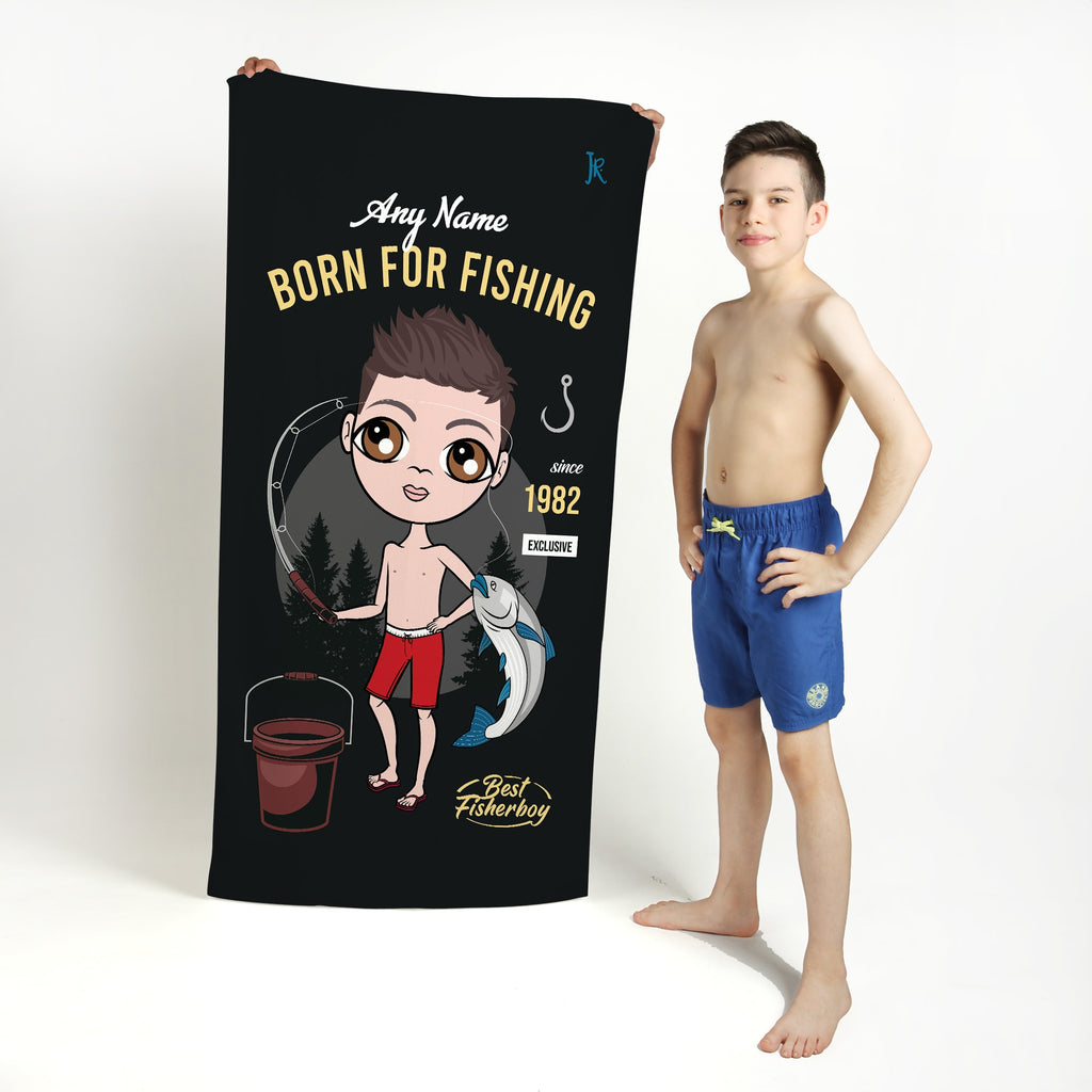 Jnr Boys Born Fishing Beach Towel - Image 1